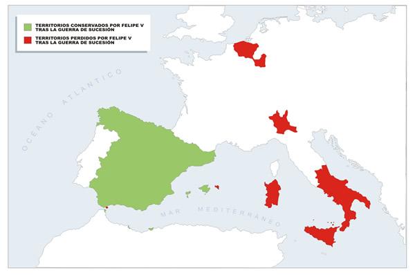 Territorios conservados y territorios perdidos por Felipe V