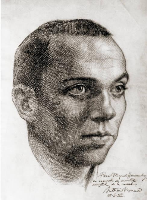 Miguel Hernandez dibujo de su amigo dramaturgo Antonio Buero Vallejo