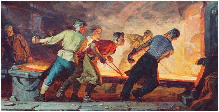 Jóvenes trabajadores del acero