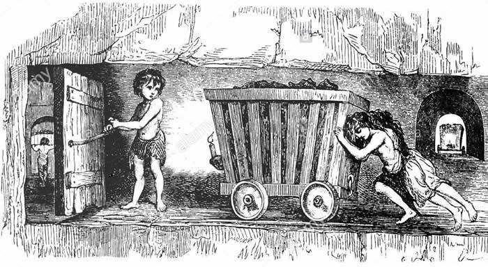 Niños trabajando en las minas a mediados del Siglo XIX